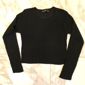 Anne Klein black cropped ribbed sweater
